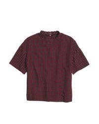 COACH Red X Blitz Houndstooth Ruffle Silk T-shirt