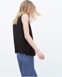 Zara   Black T-shirt With Edging Detail   Lyst