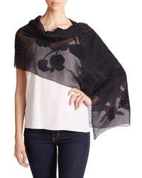 Alexander McQueen | Black Tweed Roses Silk-blend Shawl | Lyst