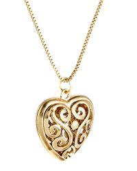 ASOS Metallic Filigree Heart Long Necklace