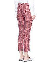 Victoria Beckham Red Ribbon Check Slim Fit Pants