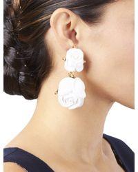 Oscar de la Renta - White Large Resin Rose Earring - Lyst