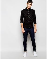 ASOS - Black Skinny Shirt With Arrow Print In Long Sleeve for Men - Lyst