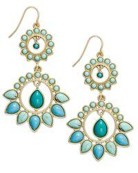 Lauren by Ralph Lauren | Blue 14K Gold-Plated Reconstituted Turquoise Double-Drop Chandelier Earrings | Lyst