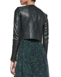 Jason Wu - Green Open-front Cropped Leather Jacket - Lyst
