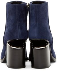 Alexander Wang - Blue Suede Notched Heel Gabi Ankle Boots - Lyst