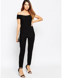 TFNC London - Black Off Shoulder Catsuit With Twisted Back - Lyst