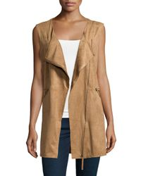Max Studio Brown Sleeveless Faux-suede Vest