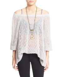 Free People | Natural 'lights Will Shine' Sheer Off The Shoulder Sweater | Lyst