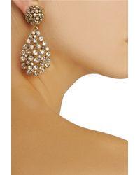 Oscar de la Renta Metallic Goldplated Crystal Clip Earrings