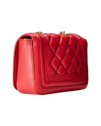 Love Moschino | Red Mini Quilted Flap Crossbody Purse | Lyst