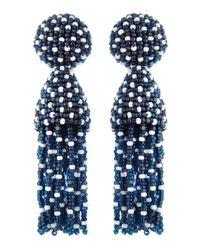 Oscar de la Renta - Short Dotted Beaded Tassel Clipon Earrings Lapis Blue - Lyst