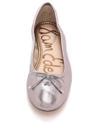 Sam Edelman Pink Felicia Metallic Ballet Flats Dark Silver