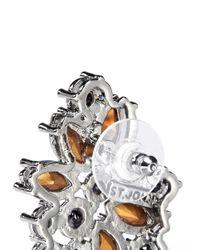 St. John | Metallic 'night Bloom' Crystal Laurel Earrings | Lyst