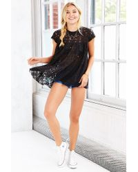 Kimchi Blue | Black Lace Babydoll Top | Lyst