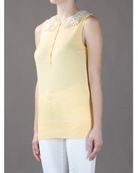 Love Moschino Yellow Sleeveless Lace Collar Top