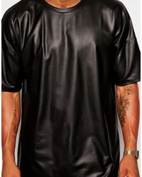 ASOS Black Oversized T-shirt In Leather Look Jersey for men