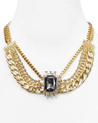 "Aqua Black Rylie Single Stone Chain Necklace, 17.5"""