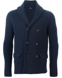 Drumohr - Blue Double Breasted Chunky Knit Cardigan for Men - Lyst