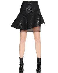 MSGM Blue Astrakhan Effect Neoprene Skirt