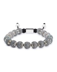 Nialaya - Metallic Silver Beaded Bracelet for Men - Lyst