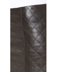 Love Leather - Black Quilted Straight Shooter Skirt - Lyst