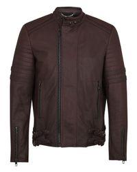 Diesel Black Gold Purple Bordeaux Leather Biker Jacket for men