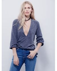 Free People | Gray Deep Thoughts Long Sleeve Top | Lyst