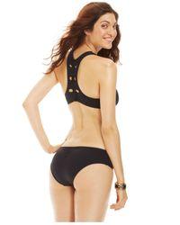 Becca - Black Cutout-Racerback Bikini Top - Lyst