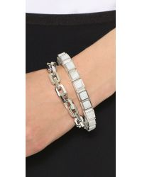 Eddie Borgo Metallic Inlaid Small Cube Bracelet - Silver