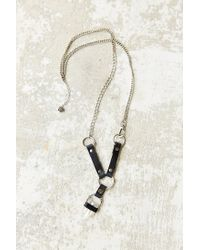 Urban Outfitters | Black Crystal Rocker Leather Necklace | Lyst