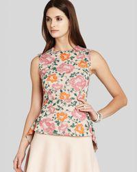 BCBGMAXAZRIA Multicolor Bcbg Max Azria Top Blossom Embroidered Peplum