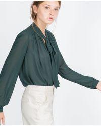 Zara | Green Bow Shirt | Lyst