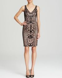 Sue Wong - Black Dress Sleeveless V Neck Contrast Soutache - Lyst