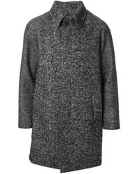 MSGM Black Herringbone Pattern Coat for men