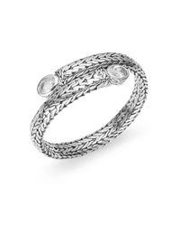 John Hardy Metallic Batu Classic White Topaz & Sterling Silver Coil Bracelet