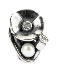 Trollbeads   Metallic Sterling Silver Poppies Of August With Pearl Bead   Lyst