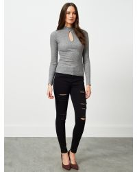 Miss Selfridge - Gray Keyhole Rib Top - Lyst