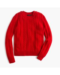 J.Crew - Red Perfect Cable Sweater - Lyst