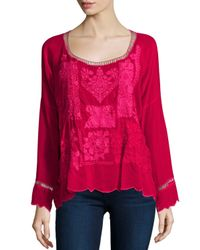 Johnny Was - Red Puzzle Scalloped Georgette Top - Lyst