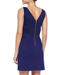 MILLY Blue Seam-detail Shift Dress