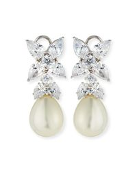 Fantasia by Deserio - Metallic Flower Top Cz & Simulated Pearl Drop Earrings - Lyst
