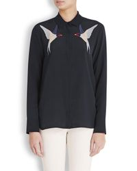 Stella McCartney Blue Navy Swallow Embroidered Silk Blouse