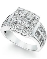 Macy's | Diamond Ring In 14k White Gold (3 Ct. T.w.) | Lyst