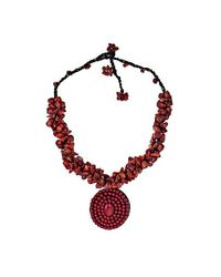 Aeravida - Red Round Coral Mosaic Pendant Cluster Stone Necklace - Lyst