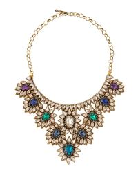 Deepa Gurnani - Green Crystal Draped Flower Bib Necklace - Lyst