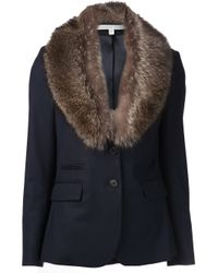 Veronica Beard Blue Fur Collar Blazer
