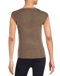 Calvin Klein - Gray Ribbed Shell Blouse - Lyst