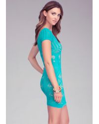 Bebe Green Double Layer Shirt Lace Sleeve Dress
