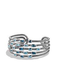 David Yurman - Blue Confetti Wide Cuff Bracelet - Lyst